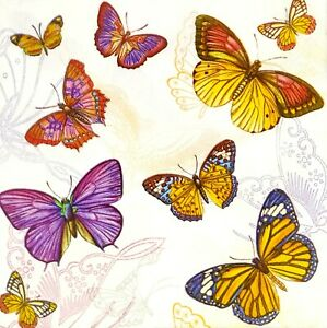N865# 3 x Single Paper Napkins For Decoupage Craft Colorful Butterfly Pattern