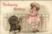 Thanksgiving Turkey Bothering Little Girl c1910 Postcard HBG Griggs