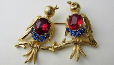 VINTAGE CIRCA 1960s WEISS BROOCH BLUEBIRD SWALLOW DUO