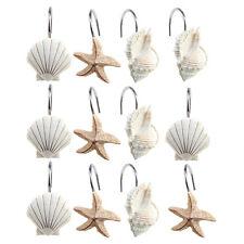 12 Pcs Seashell Shower Curtain Hooks Anti-Rust Starfish Room Curtian Hook Decor