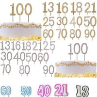 Cake Decorations Topper Age Milestone Numbers Party Candles Glitter Gold Silver