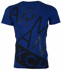 Armani Exchange BIAS Mens Designer T-SHIRT Premium ROYAL BLUE Slim Fit $45 NWT