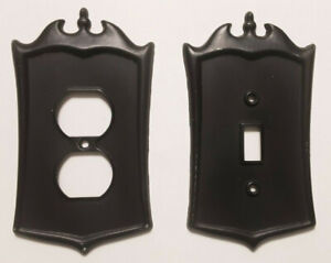 Two Vintage DILLY MFG. CO. Metal Electrical Cover Plates 1 Switch & 1 Duplex