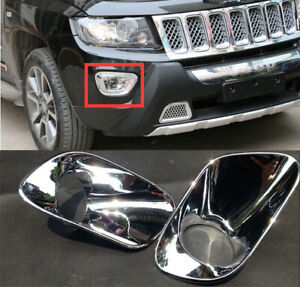 For Jeep Compass 2014 2015 2016 ABS Chrome 2pcs Car Front Fog lights Lamp Cover
