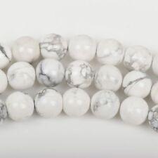10mm WHITE NATURAL HOWLITE Round Gemstone Beads, full strand, 40 beads how0543