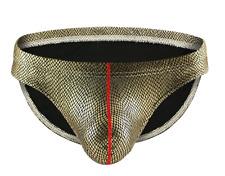 Men's Sexy Medium Black & Gold Metallic Pouched Hipster Briefs Underwear Gay UK
