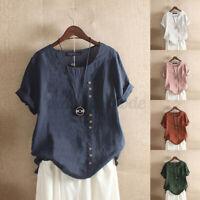 ZANZEA Women Loose Cotton Plain Round Neck Tee Shirt Vintage Enthic Tops Blouse