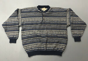 VTG Men's Woolrich Blue Striped Knit 1/4 Button Sweater Sz L Large Made In USA