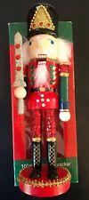 "Nib New Soldier Nutcracker Sparkling Red Wood Decor Christmas 10"" Kurt Adler"