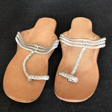New! Handmade Leather Plaited Woven Silver Thong Sandals. Size 40