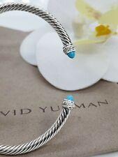 David Yurman Sterling Silver 4mm cable bracelet w/ Turquoise & diamonds size M