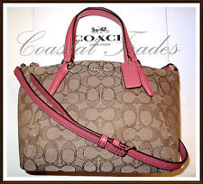 Coach Signature Mini Leather Trim Kelsey Bag Purse STRAWBERRY PINK NWT 57830