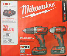 Milwaukee M18 18V Cordless Combo Kit Drill + Impact Diver (2691-22P) 2 batteries