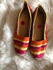 Adrienne Vittadini Espadrilles Yellow Red Orange Color Block Flats Size 10