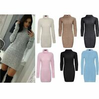 Ladies Womens Polo Roll Neck Cable Knitted Bodycon Jumper Dress Top Size UK 8-26