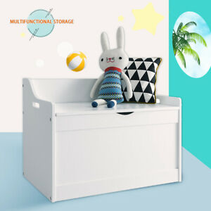 white Kids Toy Box Chest Storage Cabinet Container Children Clothes Organiser