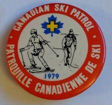 Vintage Canadian Ski Patrol Pin Button 1979 Patrouille Canadienne de Ski Damage