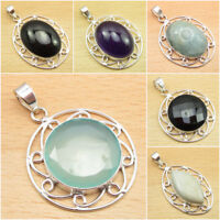 Real BLACK ONYX & Other Gemstones ! 925 Silver Plated Over Solid Copper Pendants