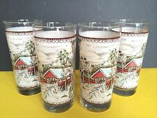 Johnson Bros 15 OZ Beverage/Ice Tea Glasses Set of 4 Friendly Village USA Made