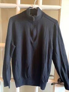 Gap Boys Extra Fine Merino Wool Size Large Mock Neck Half Zip Sweater Black