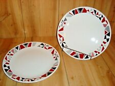 Corelle MOSAIC RED Scarlet Black Gray Geometric DINNER PLATE Set of 2
