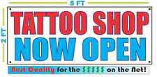 Tattoo Shop Now Open Banner Sign New 2X5