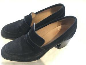 Vintage Free Lance Paris France Black Suede Women's Shoes Size 37 1/2
