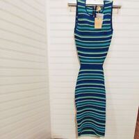 NWT Women's Dress Torn by RONNY KOBO Turquoise Striped Midi Cut-out Back