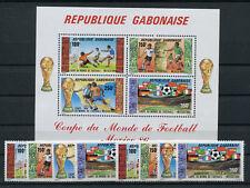 Gabun 955/58 + 927/75 Block 54 postfrisch / Fußball .......................2/823