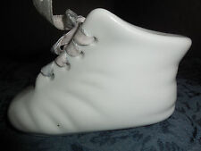 J.C. PENNY PORCELAIN PIGGY BANK WHITE BABY BOOT WITH RIBBON BABY GIFT REGISTRY