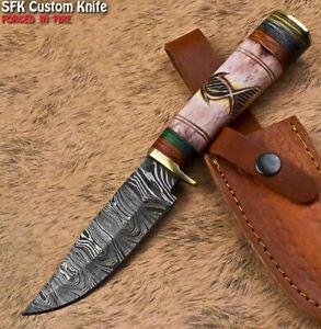 SFK Unique Handmade Damascus Steel Camel Bone Art Hunting Skinner Knife
