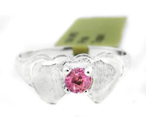 DOUBLE HEART PINK TOPAZ RING 10K WHITE GOLD * New with Tag