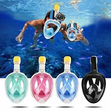 Blue L/XL Anti-Fog Swimming Full Face Mask Surface  Snorkel Scuba for GoPro