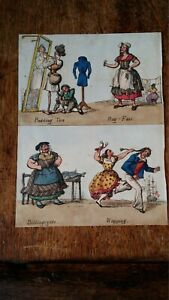 1827 SATIRICAL PRINT - WILLIAM HEATH - PLACES PERSONIFIED (TWO PANEL FRAGMENT)