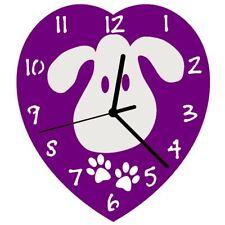 Euphyllia-Tempus Childrens Love My Dog Wall Clock 23cm Purple (e9601pur)