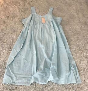 NEW La Cera 100% Cotton Sleeveless Floral Lace Yoke Chemise Gown Plus Sz 3X