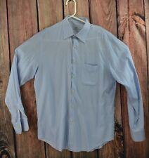 Gianfranco GF Ferre Mens Dress Shirt White Blue Striped Size 16 34 35 Non Iron