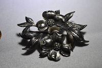 Vintage Signed CINI Sterling Silver Floral Flower Brooch Pin
