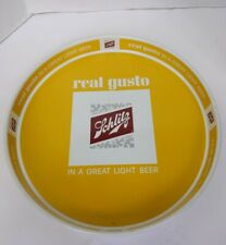 """1965 Schlitz Beer Tray 13"""" Round Serving Metal Tray Double Sided Yellow Vintage"""