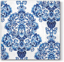 20 Paper Lunch Napkins Blue PORCELAIN ORNAMENT Decoration Navy Blue Pattern