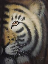Pintura al óleo abstracta Wild Tiger Lona Arte Moderno Contemporáneo Original Animal