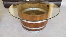 Decorative Oak Wine Barrel Half Table With Glasstop - FREE SHIPPING