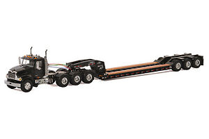 "Mack Granite Truck w/ 3 Axle Rogers Lowboy Trailer ""BLACK"" - 1/50 - WSI #33-2011"