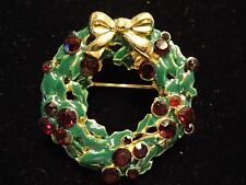 Vintage Sparkly Red Rhinestone Enamel Holly Wreath Christmas Holiday Brooch Pin