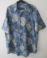 "Vintage Summa 70% Silk/Nylon Blue Tropical Hawaiian Shirt 48""-122cm L (736H)"