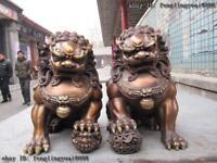 Chinese classical Bronze Copper Evil Guardian Door Bei Jing Fu Foo Dog Lion Pair