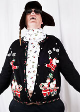 Ugly Tacky Christmas Party WINNER Floating Santas Cardigan Sweater Jumper XL