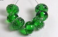 ROA Lampwork 7 Green & Clear Sugar Set Handmade USA Art Glass Beads SRA