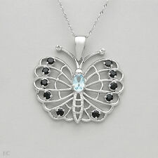 Butterfly Necklace With Genuine Diamond,Sapphire,Topaz in 925 Sterling silver.