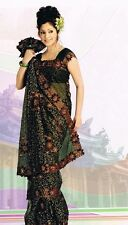 Bollywood Green Wedding Party Wear Designer Sari Saree
